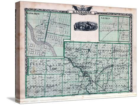 1876, Kankakee County Map, Gilman, Kankakee, Illinois, United States--Stretched Canvas Print