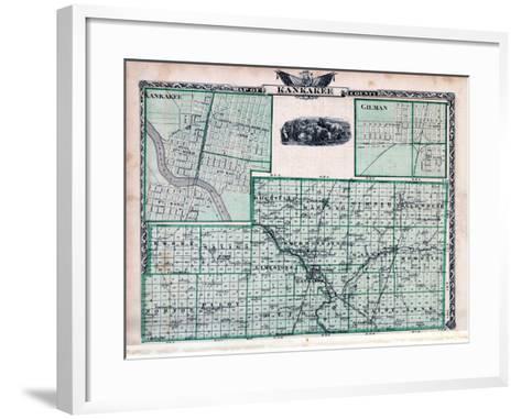 1876, Kankakee County Map, Gilman, Kankakee, Illinois, United States--Framed Art Print