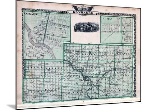 1876, Kankakee County Map, Gilman, Kankakee, Illinois, United States--Mounted Giclee Print