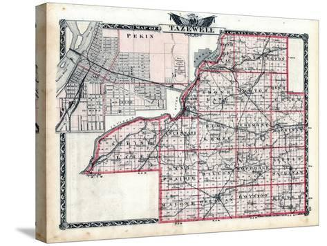 1876, Tazewell County Map, Illinois, United States--Stretched Canvas Print
