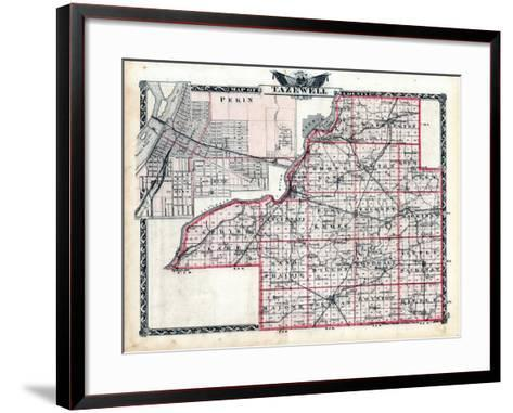 1876, Tazewell County Map, Illinois, United States--Framed Art Print