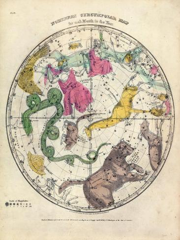 1835, Circumpolar Map Northern, Constellations--Stretched Canvas Print