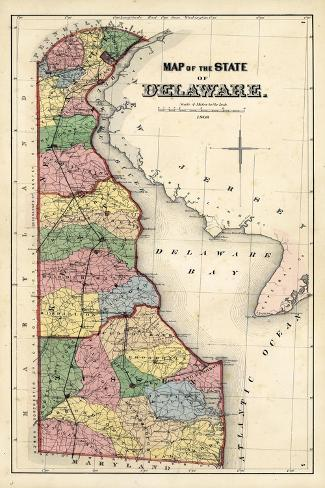 1868, Delaware State Map, Delaware, United States--Stretched Canvas Print