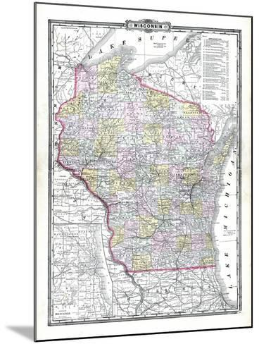 1899, State Map, Wisconsin, United States--Mounted Giclee Print