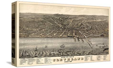 1877, Cleveland Bird's Eye View, Ohio, United States--Stretched Canvas Print