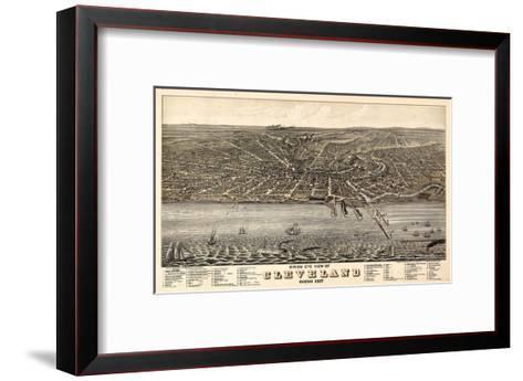 1877, Cleveland Bird's Eye View, Ohio, United States--Framed Art Print