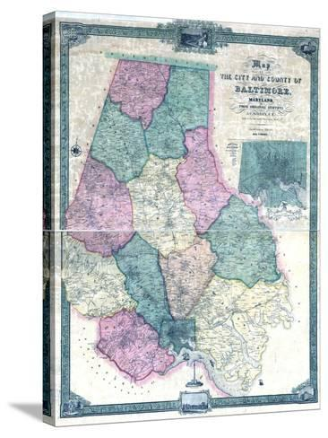 1857, Baltimore County Wall Map, Maryland, United States--Stretched Canvas Print