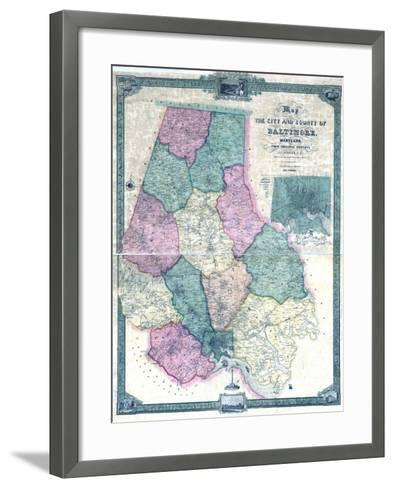 1857, Baltimore County Wall Map, Maryland, United States--Framed Art Print