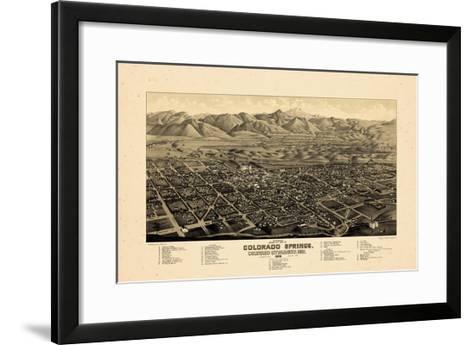 1882, Colorado Springs 1882c Bird's Eye View, Colorado, United States--Framed Art Print