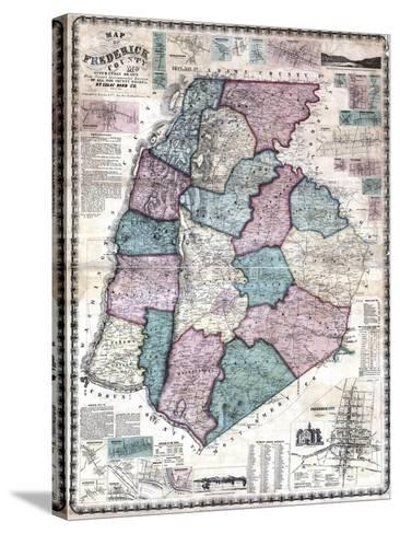 1858, Frederick County Wall Map, Maryland, United States--Stretched Canvas Print