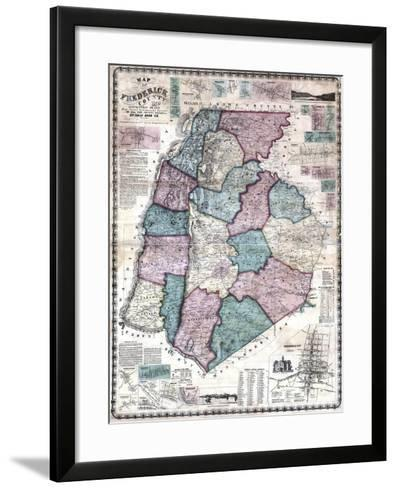 1858, Frederick County Wall Map, Maryland, United States--Framed Art Print