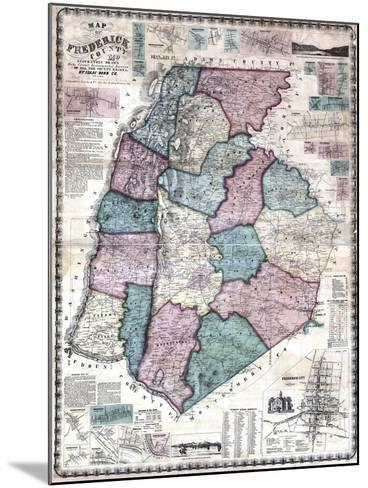 1858, Frederick County Wall Map, Maryland, United States--Mounted Giclee Print