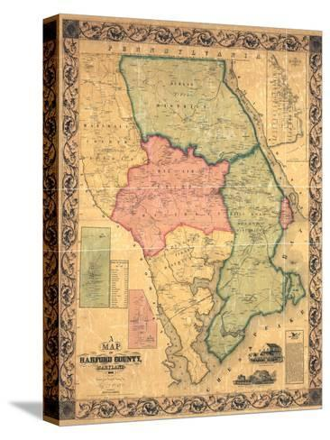 1858, Harford County Wall Map, Maryland, United States--Stretched Canvas Print