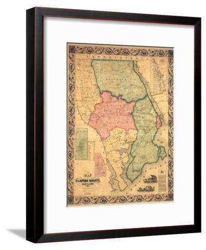 1858, Harford County Wall Map, Maryland, United States--Framed Art Print