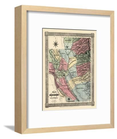 1851, California Mining Districts Map, California, United States--Framed Art Print