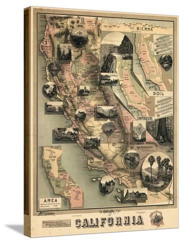 1888, California State Map, California, United States--Stretched Canvas Print