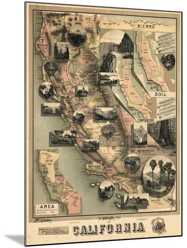 1888, California State Map, California, United States--Mounted Giclee Print