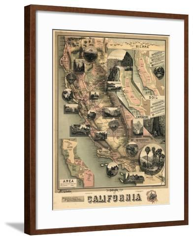 1888, California State Map, California, United States--Framed Art Print