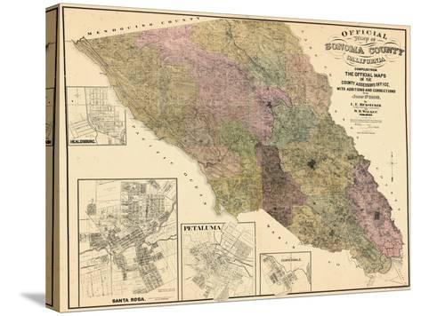 1900, Sonoma County Wall Map, California, United States--Stretched Canvas Print