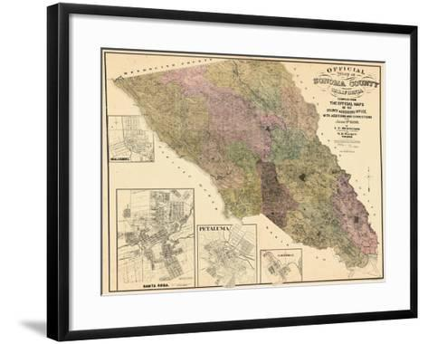 1900, Sonoma County Wall Map, California, United States--Framed Art Print