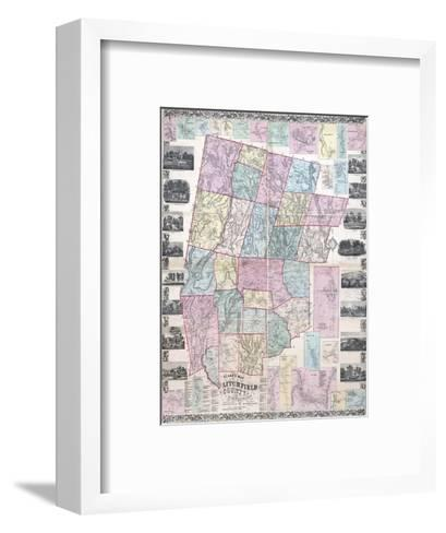 1859, Litchfield County Wall Map, Connecticut, United States--Framed Art Print