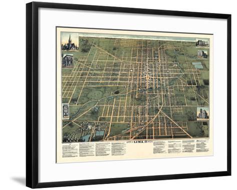 1892, Lima Bird's Eye View, Ohio, United States--Framed Art Print
