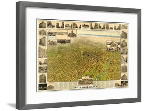 1908, Denver Bird's Eye View, Colorado, United States--Framed Art Print