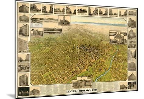 1908, Denver Bird's Eye View, Colorado, United States--Mounted Giclee Print