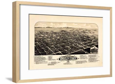 1882, Greeley Bird's Eye View, Colorado, United States--Framed Art Print