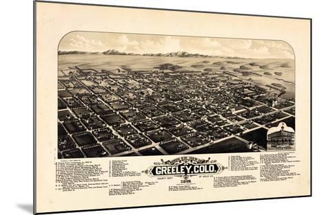 1882, Greeley Bird's Eye View, Colorado, United States--Mounted Giclee Print