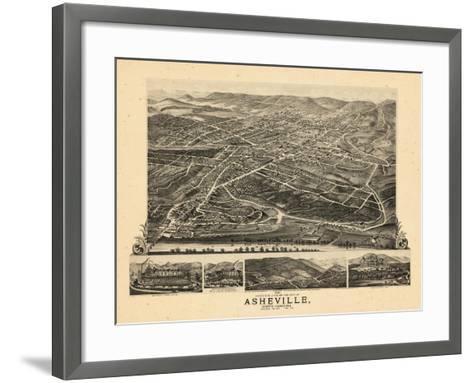 1891, Asheville Bird's Eye View, North Carolina, United States--Framed Art Print