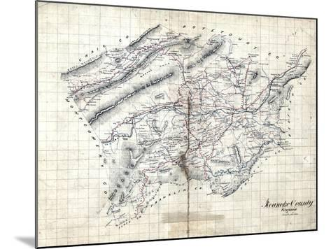 1860s, Roanoke County Wall Map, Virginia, United States--Mounted Giclee Print