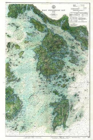 1910, East Penobscot Bay Chart with Background, Maine, Unit--Stretched Canvas Print