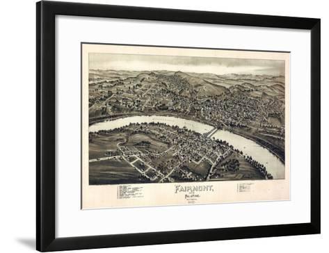 1897, Fairmont and Palatine Bird's Eye View, West Virginia, United States--Framed Art Print