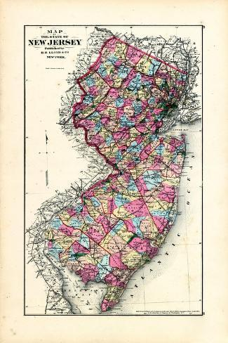 1876, New Jersey State Map, New Jersey, United States--Stretched Canvas Print