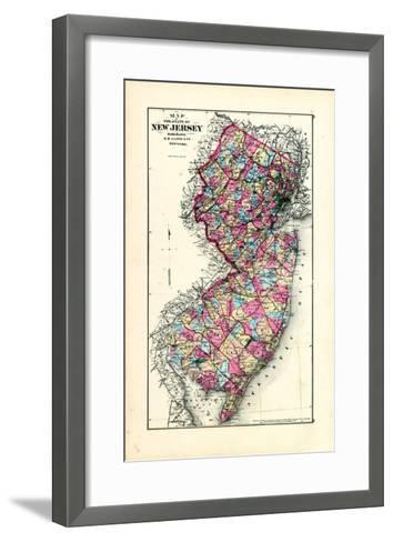 1876, New Jersey State Map, New Jersey, United States--Framed Art Print