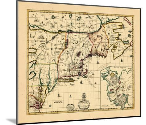 1714, Connecticut, Maine, Massachusetts, New Hampshire, Rhode Island, Vermont, Maryland, New York--Mounted Giclee Print