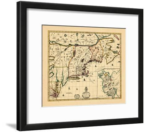 1714, Connecticut, Maine, Massachusetts, New Hampshire, Rhode Island, Vermont, Maryland, New York--Framed Art Print