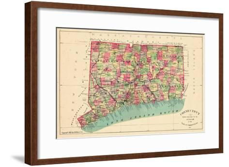 1893, Connecticut State Map, Connecticut, United States--Framed Art Print
