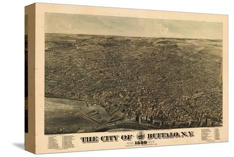 Buffalo 1880 Bird's Eye View, New York, United States--Stretched Canvas Print