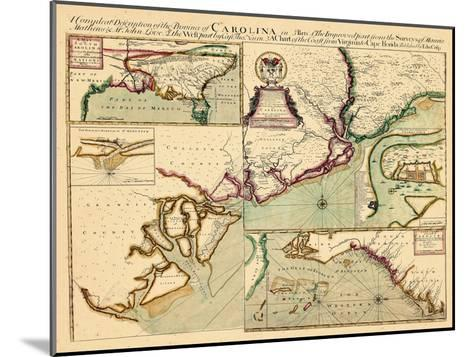 1711, Carolina A complete description of the province of Carolina in 3 parts, South Carolina--Mounted Giclee Print