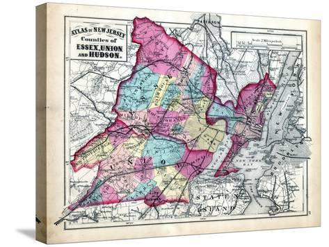1873, Essex, Union and Hudson Counties Map, New Jersey, United States--Stretched Canvas Print