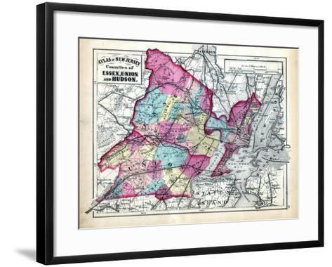 1873, Essex, Union and Hudson Counties Map, New Jersey, United States--Framed Art Print