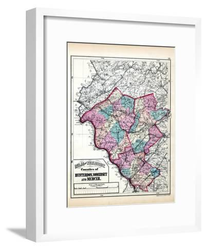 1873, Hunterdon, Somerset and Mercer Counties Map, New Jersey, United States--Framed Art Print