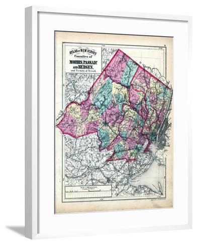 1873, Morris, Passaic and Bergen Counties Map, New Jersey, United States--Framed Art Print
