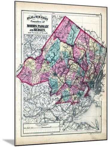 1873, Morris, Passaic and Bergen Counties Map, New Jersey, United States--Mounted Giclee Print
