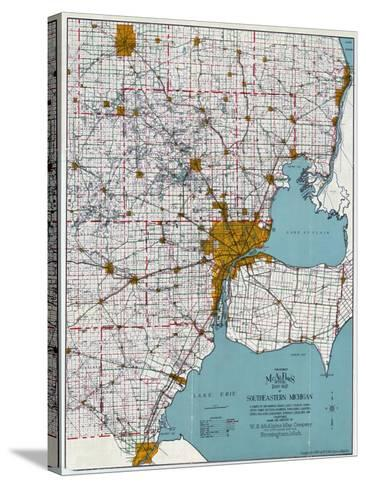 1925, Southeastern Michigan Road Map, Michigan, United States--Stretched Canvas Print