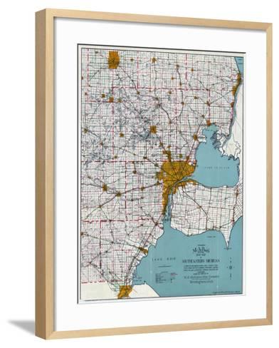 1925, Southeastern Michigan Road Map, Michigan, United States--Framed Art Print
