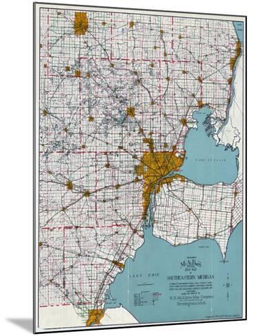 1925, Southeastern Michigan Road Map, Michigan, United States--Mounted Giclee Print