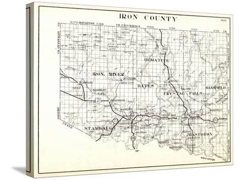 1930, Iron County, Hematite, Iron River, Bates, Crystal Falls, Mansfield, Stambaugh, Mastodon, Arms--Stretched Canvas Print